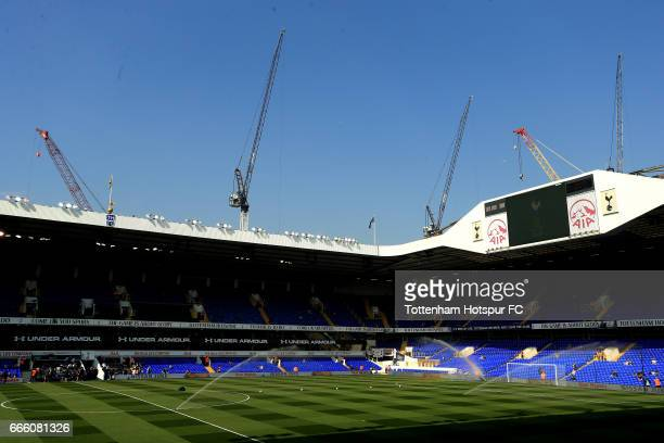 A general view isnide the stadium prior to the Premier League match between Tottenham Hotspur and Watford at White Hart Lane on April 8 2017 in...