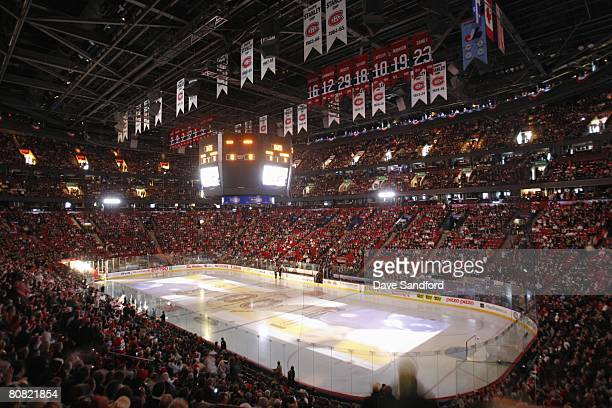 General view just before the start of game one of the Eastern Conference Quarterfinals between the Montreal Canadiens and the Boston Bruins during...