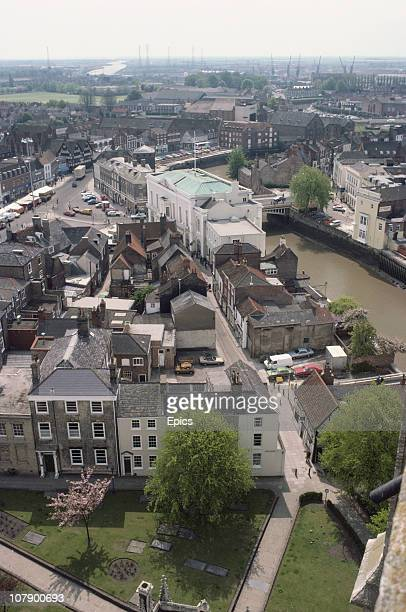 A general view looking across the town of Boston from St Botolph's church or Boston Stump Lincolnshire England May 1984