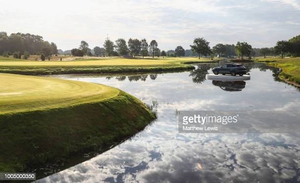 General view looking back down the 18th hole during a practice round ahead of the Porsche European Open at Green Eagle Golf Course on July 25, 2018...
