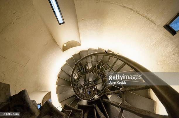 A general view looking down the steps from the top of the Monument to the Great Fire of London on November 28 in London United Kingdom The Monument...