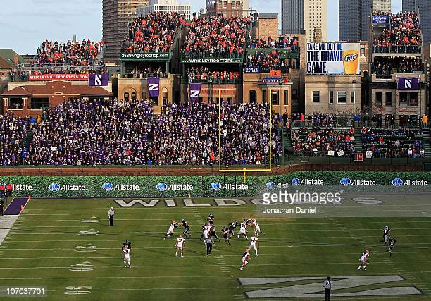 General view looking east toward the end zone that can not be used due to player safetly concerns as the Northwestern Wildcats take on the Illinois...
