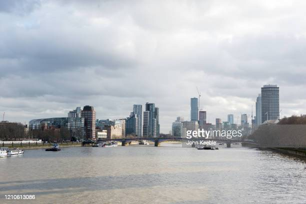 A general view looking from Westminster Bridge towards Lambeth Bridge and residential buildings in Lambeth and Vauxhall on March 3 2020 in London...