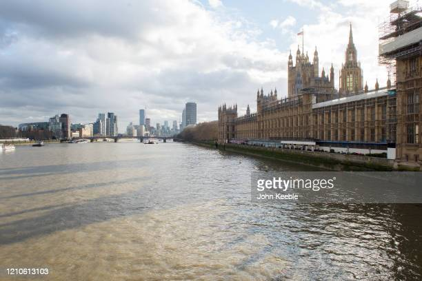 General view looking from Westminster Bridge towards the Houses of Parliament, Lambeth Bridge and residential buildings in Lambeth and Vauxhall on...
