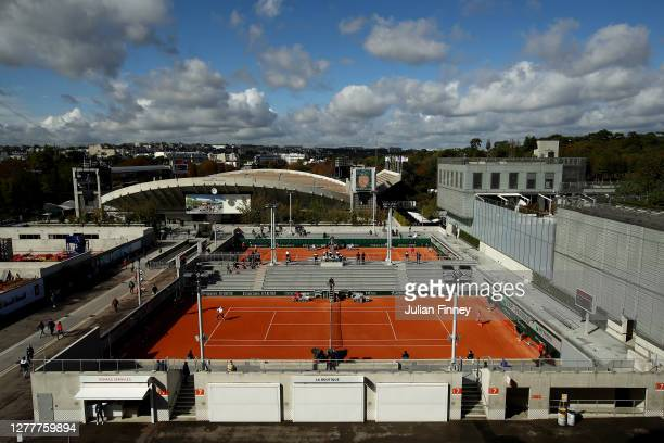 General view looking out from Court Philippe Chatrier on day five of the 2020 French Open at Roland Garros on October 01, 2020 in Paris, France.