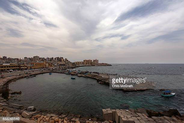 A general view looking out over the Mediterranean Sea from the coastline of Alexandria where about 290 kilometers north search operations are taking...