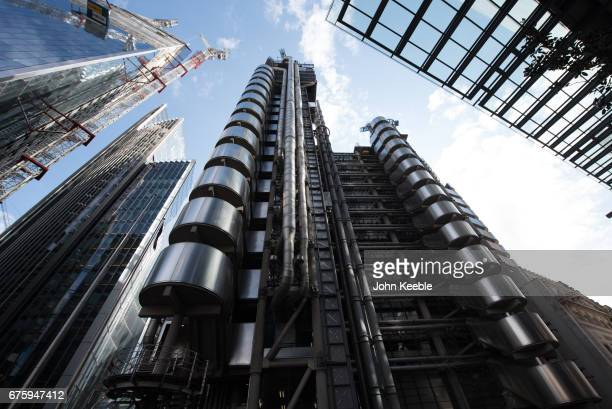 General view looking skyward of The Lloyd's building home of the insurance institution Lloyd's of London located on the former site of East India...