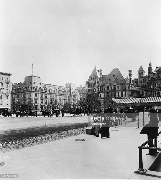 General view looking south and east from in front of the Plaza Hotel, Manhattan, New York City, New York, USA, circa 1860 to 1900. .