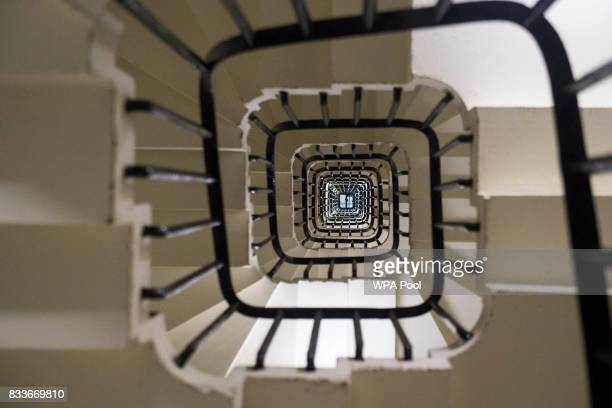 General view looking up the spiral staircase within the Elizabeth Tower, consisting of 334 steps, ahead of the bell ceasing to chime on Monday at the...