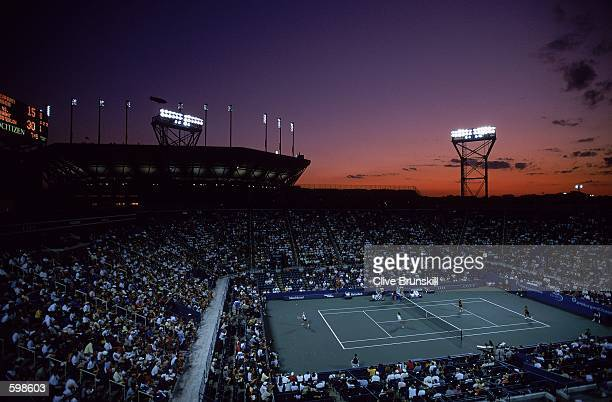 General view Louis Armstrong Stadium at sunset with the Arthur Ashe Court in the back ground during the US Open Matches at the USTA National Tennis...