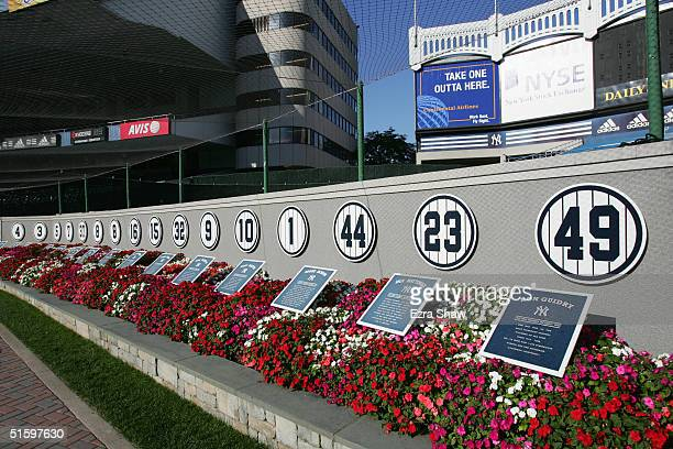 General view Monument Park in front of Yankee Stadium prior to the game between the New York Yankees and the Minnesota Twins in the Bronx New York on...