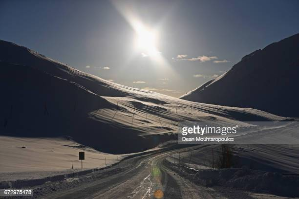 A general view mountain pass road which on many occasions is closed due to avalanche between Langfjordbotn and Alta on March 29 2017 in Troms and...