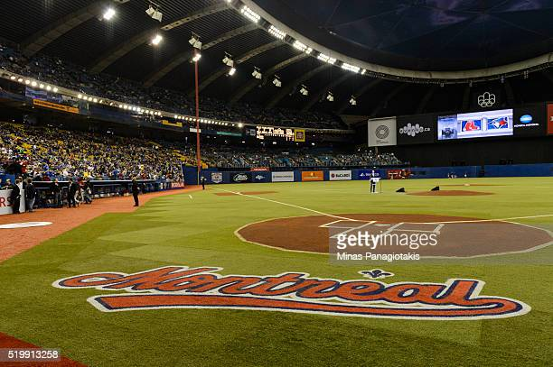 General view near home plate during the MLB spring training game between the Toronto Blue Jays and the Boston Red Sox at Olympic Stadium on April 2...