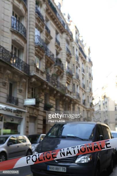 General view near the building where reportedly british photographer Kate Barry was found dead on the pavement beneath her parisian appartment on...
