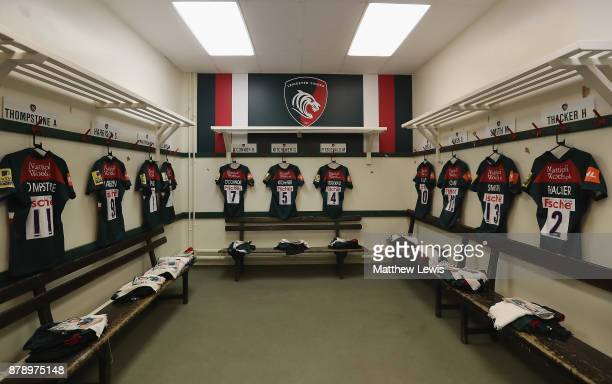 A general view o fthe Leicester Tigers dressing room ahead of the Aviva Premiership match between Leicester Tigers and Worcester Warriors at Welford...