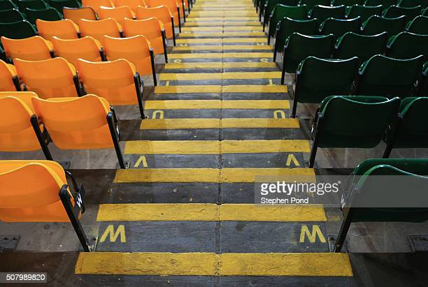 A general view od seats inside the stadium prior to the Barclays Premier League match between Norwich City and Tottenham Hotspur at Carrow Road on...
