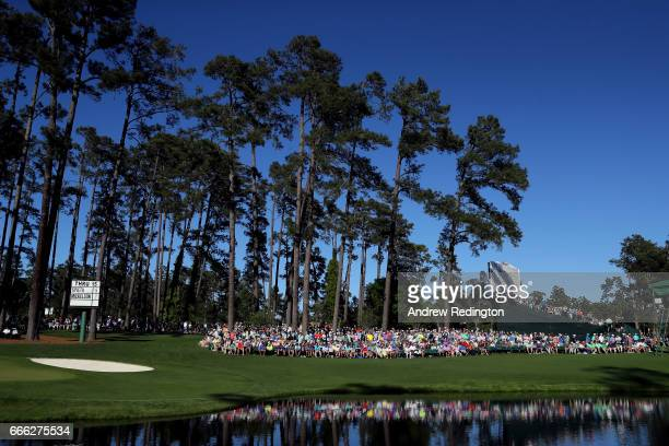 A general view of 16th green is seen during the third round of the 2017 Masters Tournament at Augusta National Golf Club on April 8 2017 in Augusta...