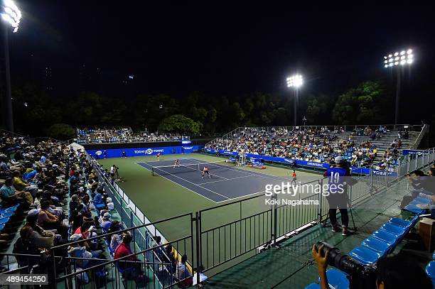 A general view of 2015 during the women's doubles match during day one of the Toray Pan Pacific Open at Ariake Colosseum on September 21 2015 in...