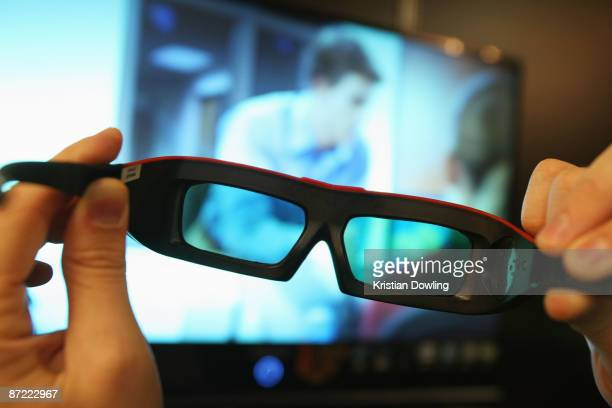 A general view of 3D glasses at a trade stall during the 62nd International Cannes Film Festival on May 14 2009 in Cannes France
