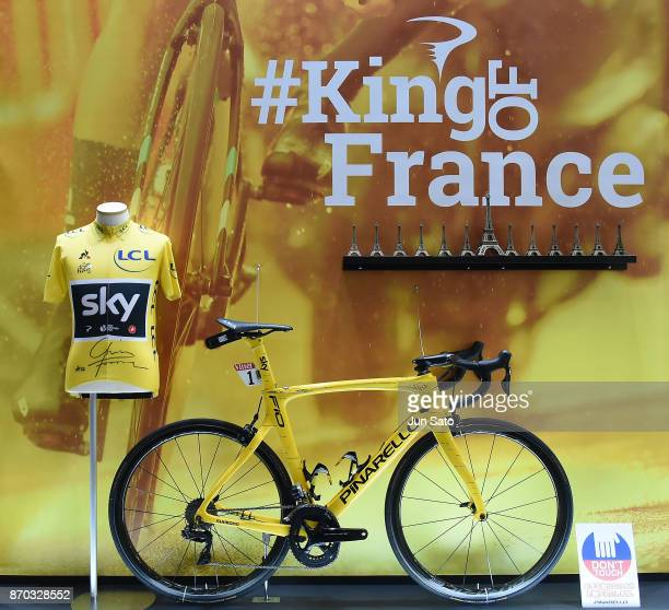 A general view of 4 time Tour de France winner Chris Froome's bike is seen during Cycle Mode International at Makuhari Messe on November 5 2017 in...