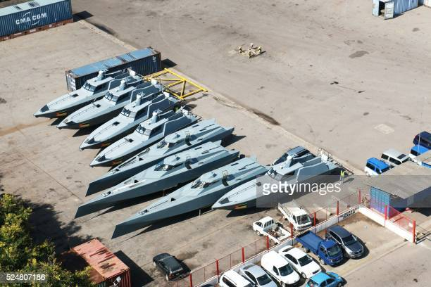 A general view of 8 speedboats belonging to Mozambican state company Proindicus are seen on quay at the Maputo Harbour in Maputoon April 22 2016 On...