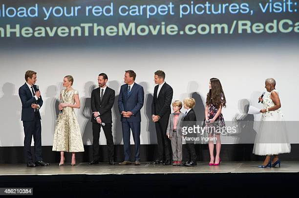 General view of '90 Minutes in Heaven' cast members during the Q&A portion with Monica Pearson at Fox Theater on September 1, 2015 in Atlanta,...