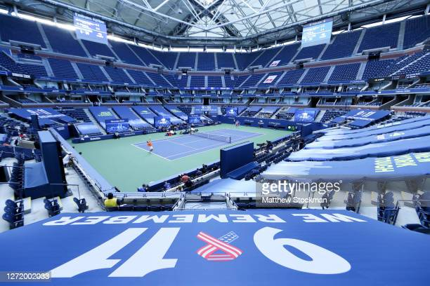 General view of 9/11 signage is seen in Arthur Ashe Stadium as Alexander Zverev of Germany serves the ball during his Men's Singles semifinal match...