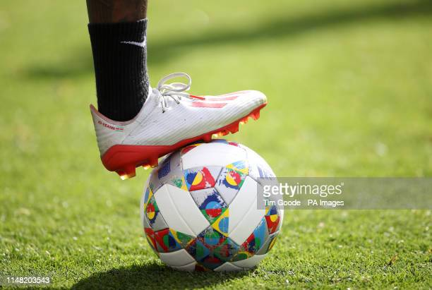 A general view of a Adidas ball during the walk around at the Estadio D Afonso Henriques Guimaraes