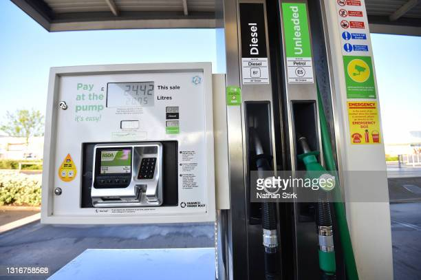General view of a Asda petrol pump at Wolstanton Retail Park on May 07, 2021 in Stoke-on-Trent, England. The Asda owners are set for a £6.8bn buyout...