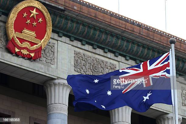 A general view of a Australian flag is seen during a welcome ceremony for Australia's Prime Minister Julia Gillard outside the Great Hall of the...