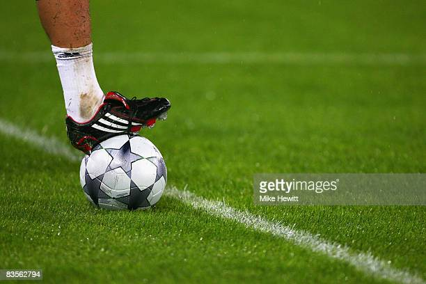A general view of a ball during the warm up prior to kickoff during the UEFA Champions League Group A match between AS Roma and Chelsea at the Stadio...