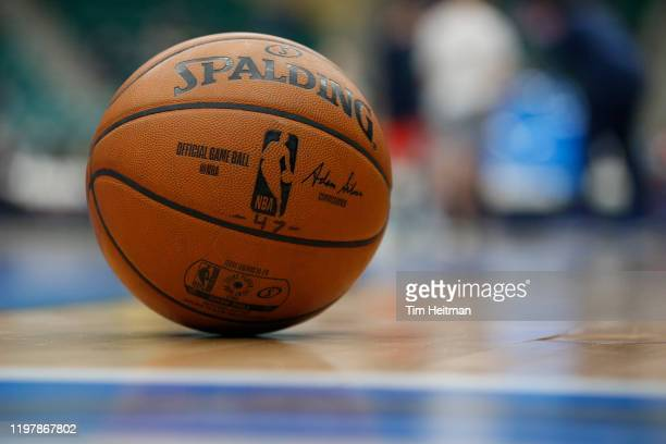General view of a ball on the court during the fourth quarter against the Northern Arizona Suns on January 31, 2020 at Comerica Center in Frisco,...