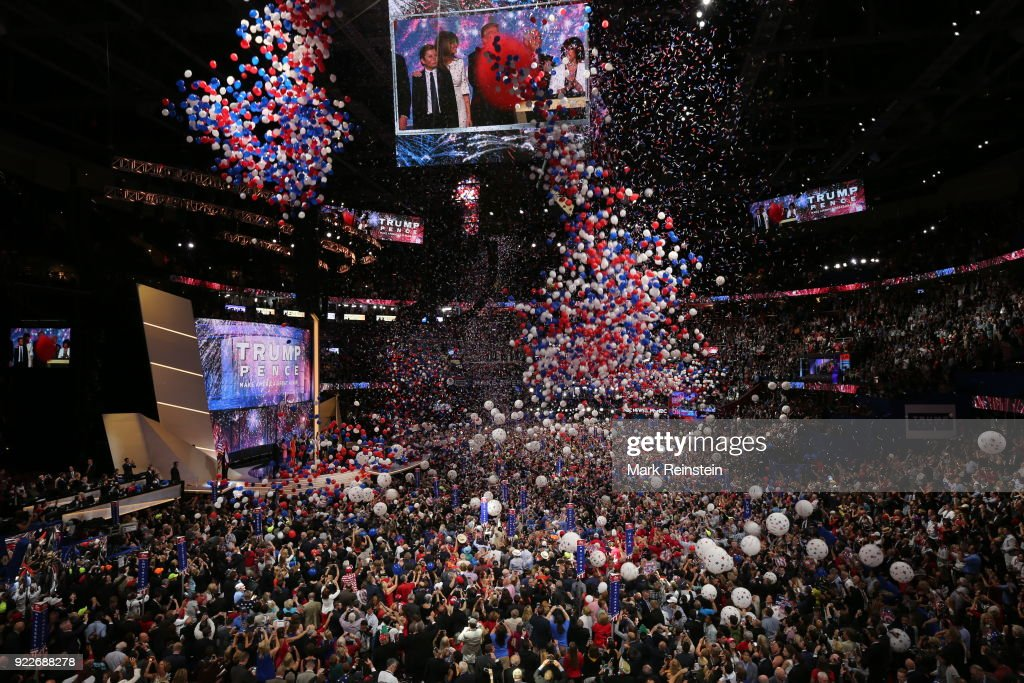General view of a balloon drop at the conclusion of the Republican National Convention at the Quicken Loans Arena, Cleveland, Ohio, July 21, 2016.