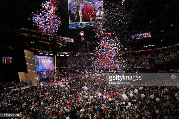 General view of a balloon drop at the conclusion of the Republican National Convention at the Quicken Loans Arena Cleveland Ohio July 21 2016