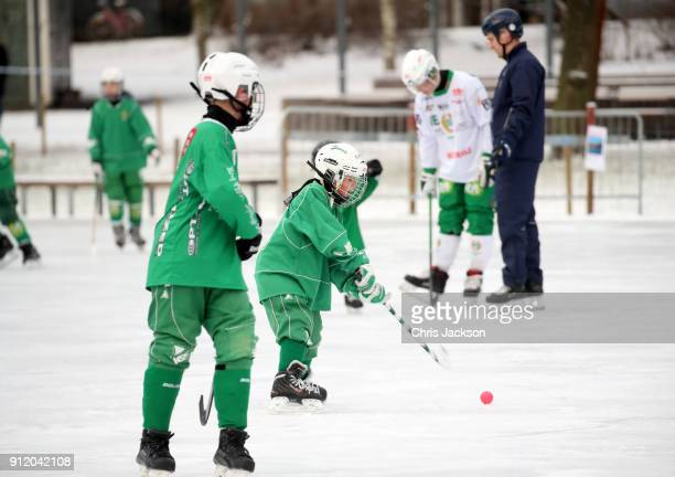 A general view of a Bandy hockey match ahead of a visit by Prince William Duke of Cambridge and Catherine Duchess of Cambridge where they will learn...