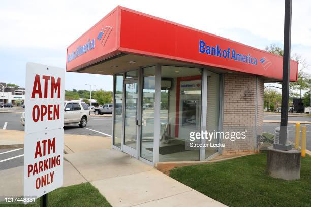 General view of a Bank of America ATM in Park Road Shopping Center during the coronavirus pandemic on April 07, 2020 in Charlotte, North Carolina....