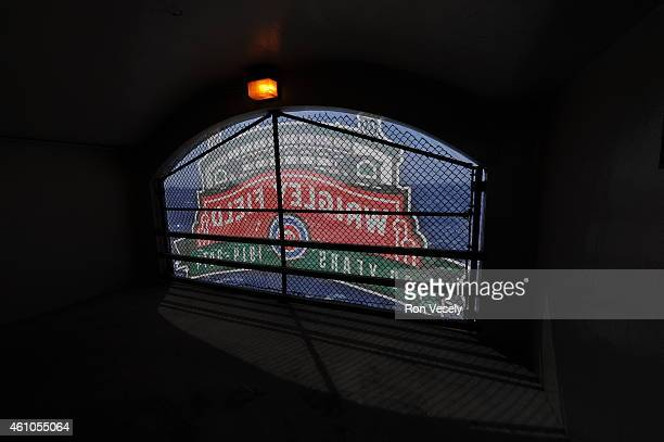 A general view of a banner celebrating the 100th anniversary of Wrigley field during the game between the Chicago Cubs and Arizona Diamondbacks at...