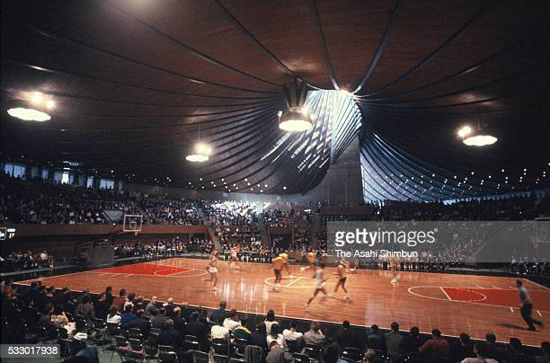 General view of a bascketball game during the Tokyo Summer Olympic Games at the Yoyogi National Gymnasium on October 10, 1964 in Tokyo, Japan.