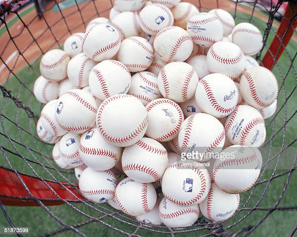 General view of a basket filled with baseballs during batting practice prior to a game between the Cincinnati Reds and the Houston Astros at Great...