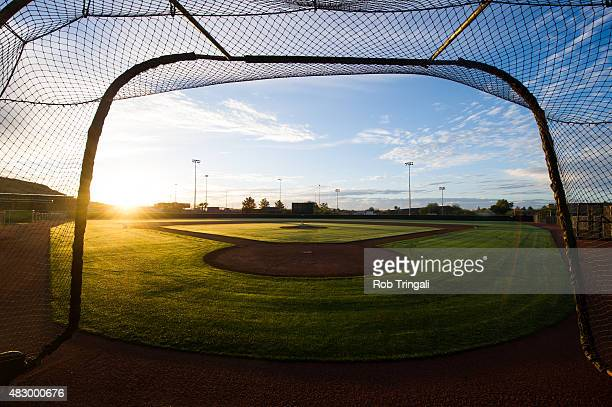 A general view of a batting cage at Tempe Diablo Stadium in Tempe Arizona on Monday March 3 2014
