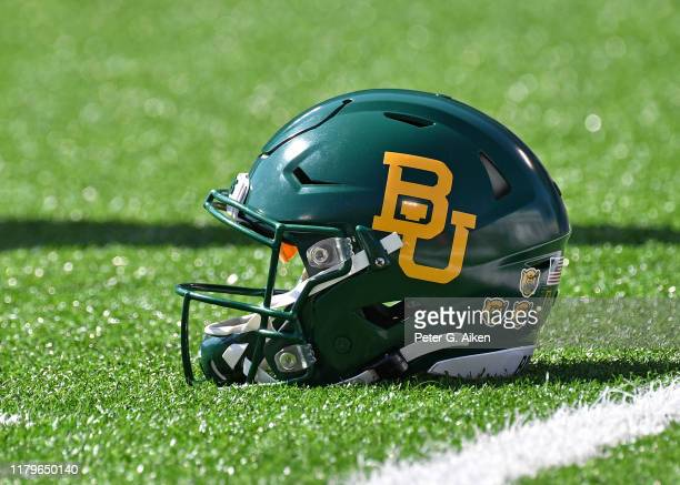 General view of a Baylor Bears helmet on the field before a game against the Kansas State Wildcats at Bill Snyder Family Football Stadium on October...