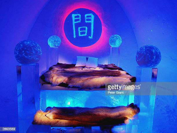 A general view of a bedroom at the Ice Hotel January 2002 in Jukkasjarvi Sweden The 30 000 square foot hotel is constructed anew every year on the...