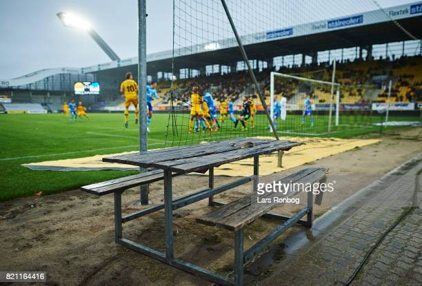 General view of a bench and table near the pitch during the Danish Alka Superliga match between AC Horsens and Lyngby BK at CASA Arena on July 23...