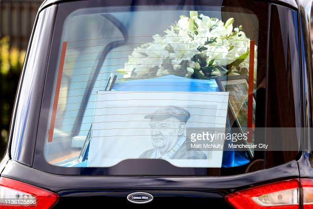 A general view of a Bernard Halford drawing inside the hearse at the Funeral of Manchester City Life President Bernard Halford at St Mary's Church in...