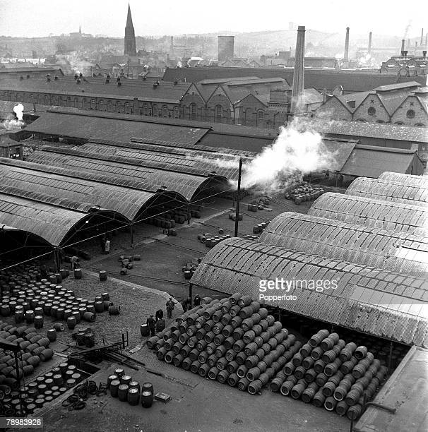 General view of a big Burton-on-Trent brewery, Ind Coope and Allsopp's, showing the vast barrel storing and cleaning department, at any given time...
