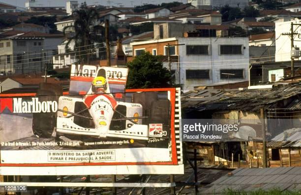 General view of a bill board advertising Marlboro during the Brazilian Grand Prix at the Interlagos circuit in Sao Paolo Brazil Mandatory Credit...