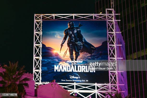 General view of a billboard above the El Capitan Entertainment Centre promoting the upcoming season of the Disney+ flagship show 'The Mandalorian' on...