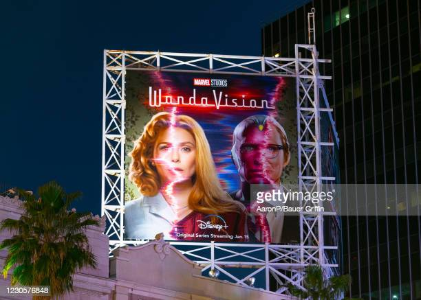 General view of a billboard above the El Capitan Entertainment Centre promoting the upcoming season of the Disney+ Marvel Studios flagship show...