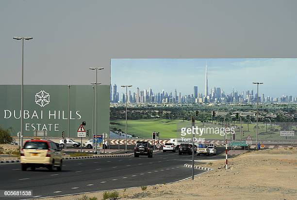 A general view of a billboard advertising Dubai Hills Estate which is currently under construction on September 14 2016 in Dubai United Arab Emirates