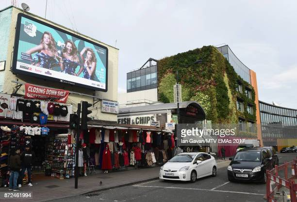A general view of a billboard promoting the MTV EMAs 2017 on November 9 2017 in London England The MTV EMAs 2017 is held at The SSE Arena Wembley on...